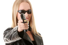 Portrait of the blonde with gun Royalty Free Stock Images
