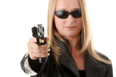 Portrait of the blonde with gun Royalty Free Stock Image