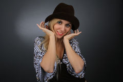 Portrait of the blonde in a hat Stock Photos