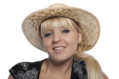 Portrait of a blonde with a hat Royalty Free Stock Images