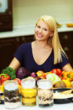 A portrait of blonde at kitchen Stock Photo