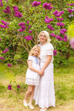 Portrait of a blonde in a lilac royalty free stock images