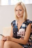 Portrait of blonde with mobile phone Royalty Free Stock Image