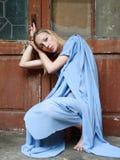 Portrait blonde near door Royalty Free Stock Image