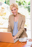 Portrait of a blonde pregnant using laptop on the desck Stock Images