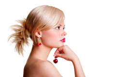 Portrait of blonde with red cherry Stock Photography