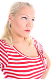 Portrait of blonde in striped dress Royalty Free Stock Photo
