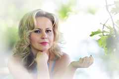 Portrait of blonde in the summer Stock Photography