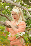 Portrait of a blonde woman at an apple orchard Stock Images