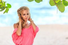 Portrait Of Blonde Woman on the beach Royalty Free Stock Images