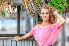 Portrait Of Blonde Woman on the beach Royalty Free Stock Photo