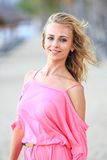 Portrait Of Blonde Woman on the beach Royalty Free Stock Photography