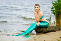 Portrait of a blonde woman. Dressed as a mermaid Stock Photos