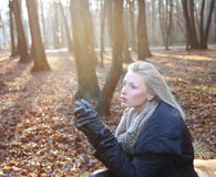 Portrait of blonde woman in forest. Stock Images