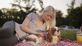 Portrait of a blonde woman in grey leggings and bright grey T shirt laying on the plaid with her small dog, caress and. Looking at her smartphone. City green stock video