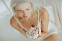 Portrait Blonde Woman Posing In White Lingerie Royalty Free Stock Photography