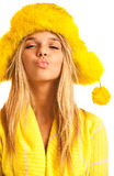 Portrait of blonde in yellow fur cap Royalty Free Stock Photo