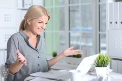 Woman working with laptop Royalty Free Stock Images