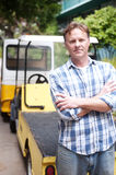 Portrait of a blue collar worker. Portrait of a mature blue collar worker stock photography