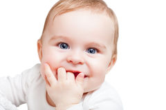 Portrait of blue-eyed baby Stock Images