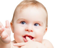 Portrait of blue-eyed baby Stock Photography