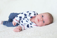 Portrait of blue-eyed baby girl (1 month) Stock Photo