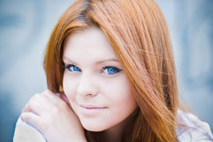 Portrait of blue-eyed beautiful girl in high key Royalty Free Stock Photos