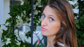 Portrait of blue-eyed girl stock footage