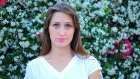 Portrait of blue-eyed girl stock video