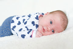 Portrait of blue-eyed 1 month baby girl lying on belly Royalty Free Stock Photography