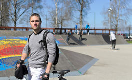 Portrait of BMX bicycle rider Stock Photos