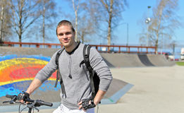Portrait of BMX bicycle rider Stock Photo