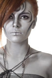 Portrait body art girl silver Royalty Free Stock Images