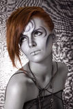 Portrait body art girl silver Stock Photo