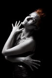 Portrait body art girl silver Royalty Free Stock Image
