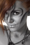 Portrait body art woman silver isolated Stock Images