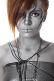 Portrait body art woman silver isolated Stock Photography