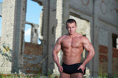 Portrait of a bodybuilder outdoors Royalty Free Stock Images