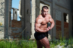 Portrait of a bodybuilder outdoors Stock Photography