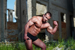 Portrait of a bodybuilder outdoors Royalty Free Stock Photography