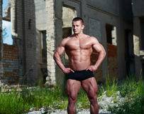 Portrait of a bodybuilder outdoors Royalty Free Stock Photos