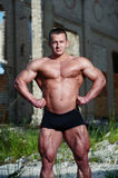 Portrait of a bodybuilder outdoors Stock Images