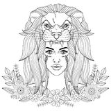 Portrait of boho girl with leon head mask, woman in floral wreat royalty free illustration
