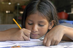 Portrait of Bolivian girl making homework. Bolivia: Child sitting in the kitchen at home writing in her notebook paper. She is a pupil on a primary school. The Stock Image
