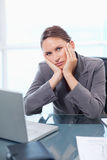 Portrait of a bored businesswoman working Royalty Free Stock Photography