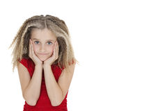 Portrait of bored girl in red outfit over white background Royalty Free Stock Photography
