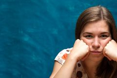 Portrait of bored and lonely young woman Royalty Free Stock Photos