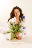 Portrait with a bouquet Royalty Free Stock Photos