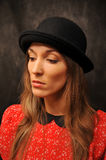 Portrait in bowler hat Royalty Free Stock Photography