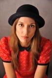 Portrait in bowler hat Stock Photo